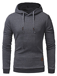 cheap -Men's Plus Size Sports Hoodie Solid Colored Hooded Basic Hoodies Sweatshirts  Long Sleeve Slim White Black Khaki / Spring / Fall