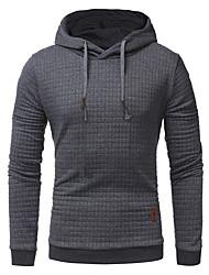 cheap -Men's Plus Size Hoodie Solid Colored Hooded Sports Holiday Basic Hoodies Sweatshirts  Long Sleeve Slim White Black Khaki / Spring / Fall