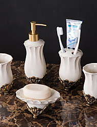 cheap -Bathroom Accessories Set 5 Piece Ceramic Complete Bathroom Set for Bath Decor Includes Toothbrush Holder Soap Dispenser Soap Dish 2 Mouthwash Cup