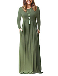 cheap -Women's A Line Dress Maxi long Dress Wine ArmyGreen Color blue Purple Red Black Dark Blue Gray Long Sleeve Solid Color Fall Winter Casual Cotton 2021 S M L XL / Loose