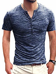 cheap -henley shirts polo men hipster tops blouse short sleeves v neck button navy xl