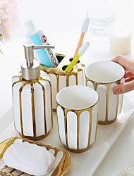 cheap -Bathroom Ensemble 4 Piece Ceramic Complete Bathroom Set for Bath Decor, Includes Toothbrush Holder, Soap Dispenser, Soap Dish, 1 Tumbler Home & Hotel Holiday Bathroom Decoration Gift Idea