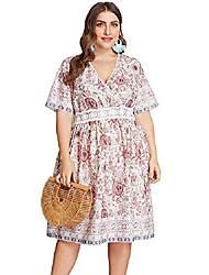 cheap -women's plus size dress boho floral print belt tie wrap casual summer beach dress (apricot,18w)