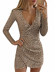 cheap -Women's Prom Dress sexy sequin dress deep v neck long sleeve wrap mini party clubwear evening dresses gold