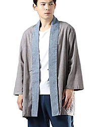 cheap -mens open front kimono cardigan casual cotton linen shirt chinese hanfu style trench coat (grey, l)