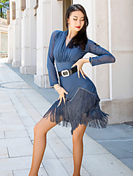cheap -Latin Dance Dress Tassel Women's Performance Long Sleeve Mesh Spandex