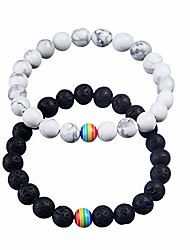 cheap -8mm lava stone bracelet men women rainbow bead distance bracelets for couples
