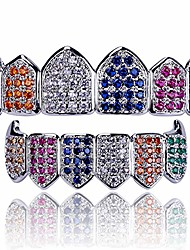 cheap -diamond grills 18k gold plated fully iced out cz vampire top and bottom face mouth grillz for your teeth men women with extra molding bars (white gold colorful)