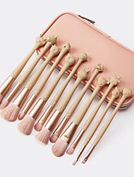 cheap -12 Chinese Zodiac Makeup Brushes Set With Brush Bag Pink