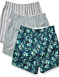 cheap -amazon brand - men's 3-pack stretch woven boxer shorts, palm frond, small