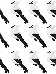 cheap -feather cardinal,12 pcs red birds cardinal christmas cardinal birds clip on tree ornaments artificial red birds for wreaths centerpieces crafts diy (white+black)