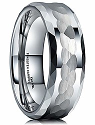 cheap -hammer men 8mm tungsten carbide ring multi-faceted hammered polished finish wedding band7