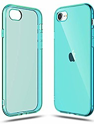 cheap -transparent shock absorption tpu rubber gel case (teal) compatible with iphone se 2020 (2nd generation) iphone 7 and iphone 8