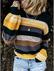 cheap -Women's Basic Stripe Knitted Striped Pullover Long Sleeve Sweater Cardigans Crew Neck Round Neck Fall Winter Black Blue Purple