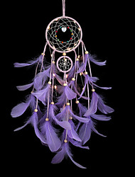 cheap -Dreamcatcher Purple Feather Wind Chimes LED Night Light Handmade Dreamcatcher Christmas Gift Ornaments Living Room Bedroom Christmas New Year Decoration
