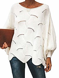 cheap -oversized pullover sweater for womens off shoulder batwing puff sleeve loose hollow out casual jumper tops white