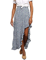 cheap -women casual floral flared high waist dress summer long skirt x-large size sky blue