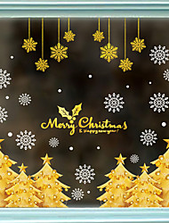 cheap -Electrostatic Glass Window Decorations Christmas Tree Christmas Snowflake Festival Window Background Decoration Removable Wall Stickers 60*90CM