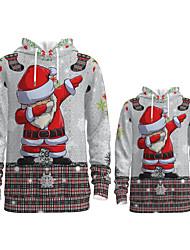 cheap -Daddy and Me Active Santa Claus Graphic 3D Print Print Long Sleeve Regular Hoodie & Sweatshirt Gray