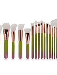 cheap -makeup brushes sets, professional 15pcs cosmetics brush kits foundation eyeshadow eyebrow highlight blush brush (green)