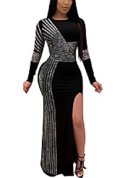 cheap -women's sexy long sleeve rhinestone ponti gown mermaid evening maxi party dress black xl