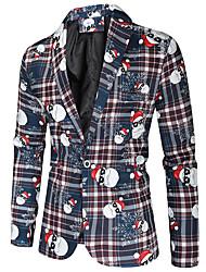 cheap -Men's Single Breasted One-button Notch lapel collar Blazer Christmas Blue M / L / XL