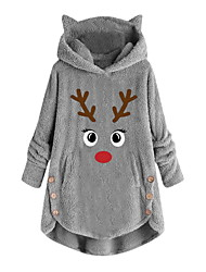 cheap -womens fleece hoodie pullover autumn winter plush warm cat embroidery plus size hooded tops button sweater