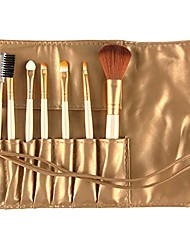cheap -makeup brushes set,7pcs professional makeup brush set tools make-up toiletry kit set with case(gold)