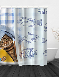 cheap -Shower Curtain With Hooks Suitable For Separate Wet And Dry Zone Divide Bathroom Shower Curtain Waterproof Oil-proof Polyester Cute Cat Pattern Classic Bathtub Curtain 1pc