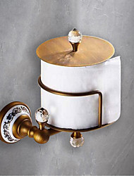 cheap -Toilet Paper Holders Removable Antique Ceramic/Crystal Roll Paper Holder Matte Brass 1PC