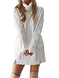 cheap -women's sweater jumper dress short mini dress - long sleeve solid color patchwork print winter turtleneck casual slim 2020 white black khaki gray s m l xl