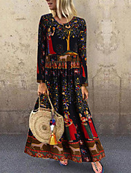 cheap -Women's Swing Dress Maxi long Dress - Long Sleeve Floral Animal Print Spring Fall Elegant Hot vacation dresses Slim 2020 Black S M L XL XXL 3XL 4XL 5XL