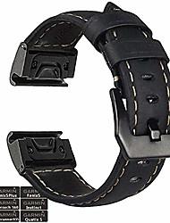 cheap -fenix 5 watch band, 22mm stainless steel metal quick fit with genuine leather watch band strap for garmin fenix 5/fenix 5 plus/forerunner 935/instinct/quatix 5(not for fenix 5x/5s),black