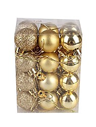cheap -24pc christmas ball ornaments shatterproof christmas decorations tree balls for holiday wedding party decoration gold