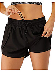 cheap -women's running shorts gym athletic shorts 2-in-1 pockets, black, xx-large