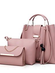 cheap -Women's Bags PU Bag Set 3 Pcs Purse Set Zipper Solid Color Daily Bag Sets Handbags Black Blushing Pink Brown Beige
