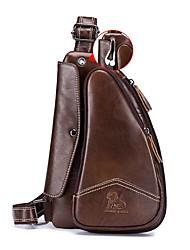 cheap -Men's Bags Cowhide Sling Shoulder Bag Chest Bag Zipper Daily Outdoor MessengerBag Black Brown Gray