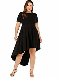 cheap -women's plus size dresses stretchy short sleeve asymmetrical cocktail swing casual dress black