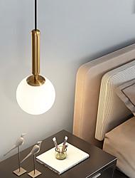 cheap -15cm 20cm 25cm LED Pendant Light Nordic Single Design Globle Bedside Light Dining Room Bar Metal Electroplated 110-120V 220-240V