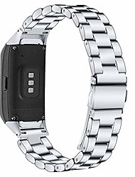cheap -compatible with samsung galaxy fit sm-r370 bands, galaxy fit watch band solid stainless steel metal replacement bracelet strap for galaxy fit sm-r370 smart watch, adjustable (silver)