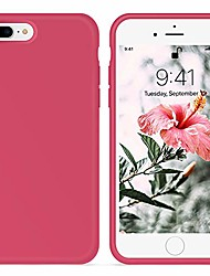 cheap -for iphone 8 plus case,iphone 7 plus case, [silky and soft touch series] premium soft silicone rubber full-body protective bumper case compatible with iphone 7/8 plus (hibiscus)