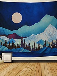 cheap -mountain tapestry forest tree tapestry moon tapestry abstract watercolor nature landscape tapestry wall hanging for room h59.1 × w78.7inches