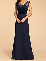 cheap -A-Line V Neck Floor Length Chiffon / Lace Bridesmaid Dress with Appliques