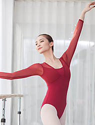 cheap -Activewear Leotard / Onesie Ruching Split Joint Women's Training Performance Long Sleeve High Mesh Spandex