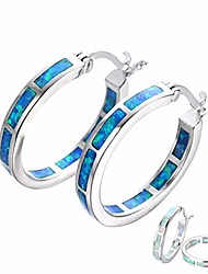 cheap -life stage white/blue fire opal 925 sterling silver round hoop dangle earrings women's fashion jewelry blue one size