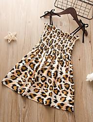 cheap -Kids Little Girls' Dress Black Leopard Sundress Print Black Knee-length Sleeveless Flower Cute Dresses Children's Day Loose