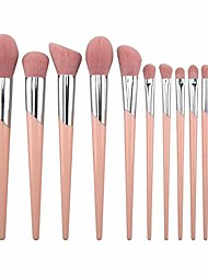 cheap -makeup brushes cosmetics professional essential 11-piece make up brush set kits with makeup bag and pouch (pink), pink