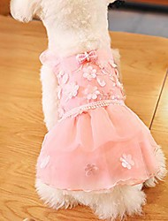 cheap -puppy dog dress, lace tutu dress 2019 new party dress dog harness flower skirt princess clothes pet cat for small dog apparel clothes