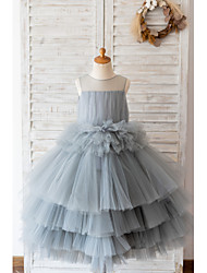 cheap -Ball Gown Knee Length Wedding / Birthday Flower Girl Dresses - Tulle Sleeveless Jewel Neck with Tier