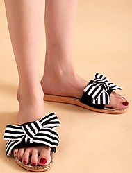 cheap -Women's Slippers & Flip-Flops Outdoor Slippers Beach Slippers Flat Heel Open Toe Casual Boho Home Polyester Bowknot Color Block Black